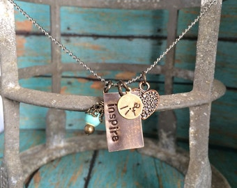 Inspire Life Metal Stamped Charm Necklace