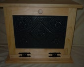 Handcrafted Wooden Bread Box with Punched Tin Door