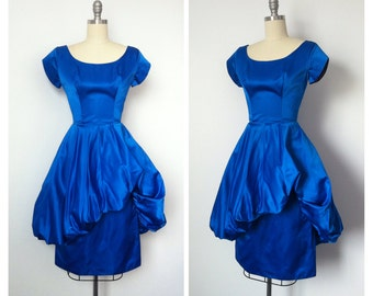 60s Electric Blue Hourglass Dress / 1960s Vintage Jewel Tone Poof Cocktail Party Dress / Small / Size 2