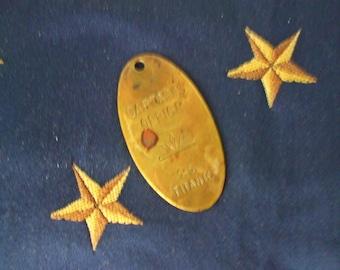 Vtg. Brass S.S. Titanic Key Fob - Captain's Office