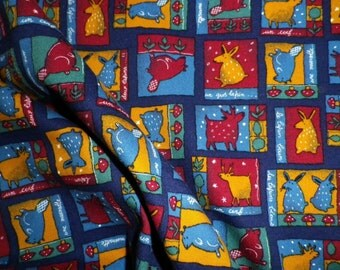 French Cotton Fabric in Children's Animal Check on Navy Interiors or Clothing