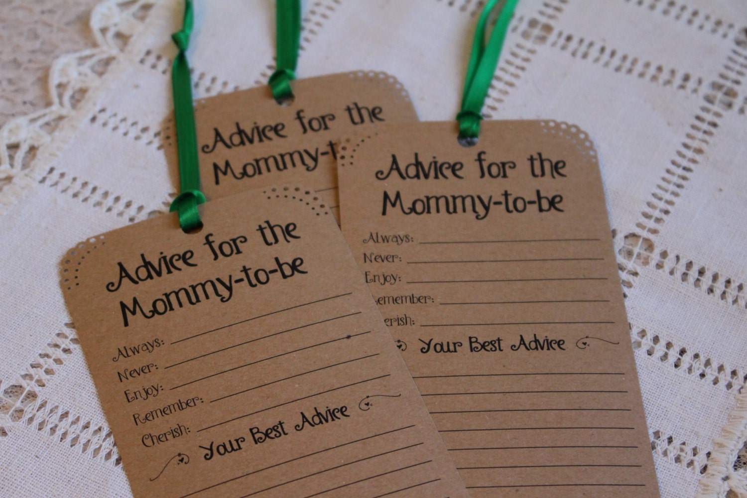 set of 12 baby shower advice tags for the mommy to be wishing