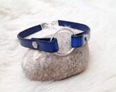 Blue genuine leather O ring choker. Ladies / man O ring choker.