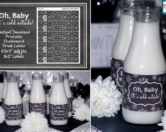 INSTANT DOWNLOAD - Oh Baby, It's cold outside Chalkboard Baby Shower Drink Wrappers - Water Bottle Labels -  White Digital pdf *Theme #PS101