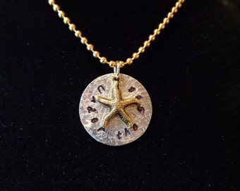 "Pendant - Stamped Silver - ""Under the Sea"" Pendant with Antique Gold Starfish - FREE SHIPPING"