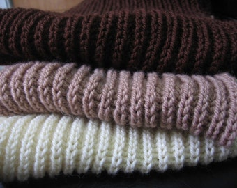 Wool Warm Knitted Ribbed Long White, Beige and Brown Scarf. Winter Scarf. Christmas Gift Idea. Gift under 45 USD
