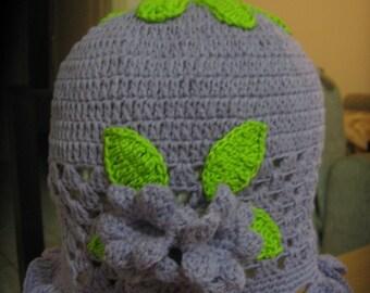 Summer Crochet Cotton Baby Hat. Crochet Flower Hat. Summer Design.