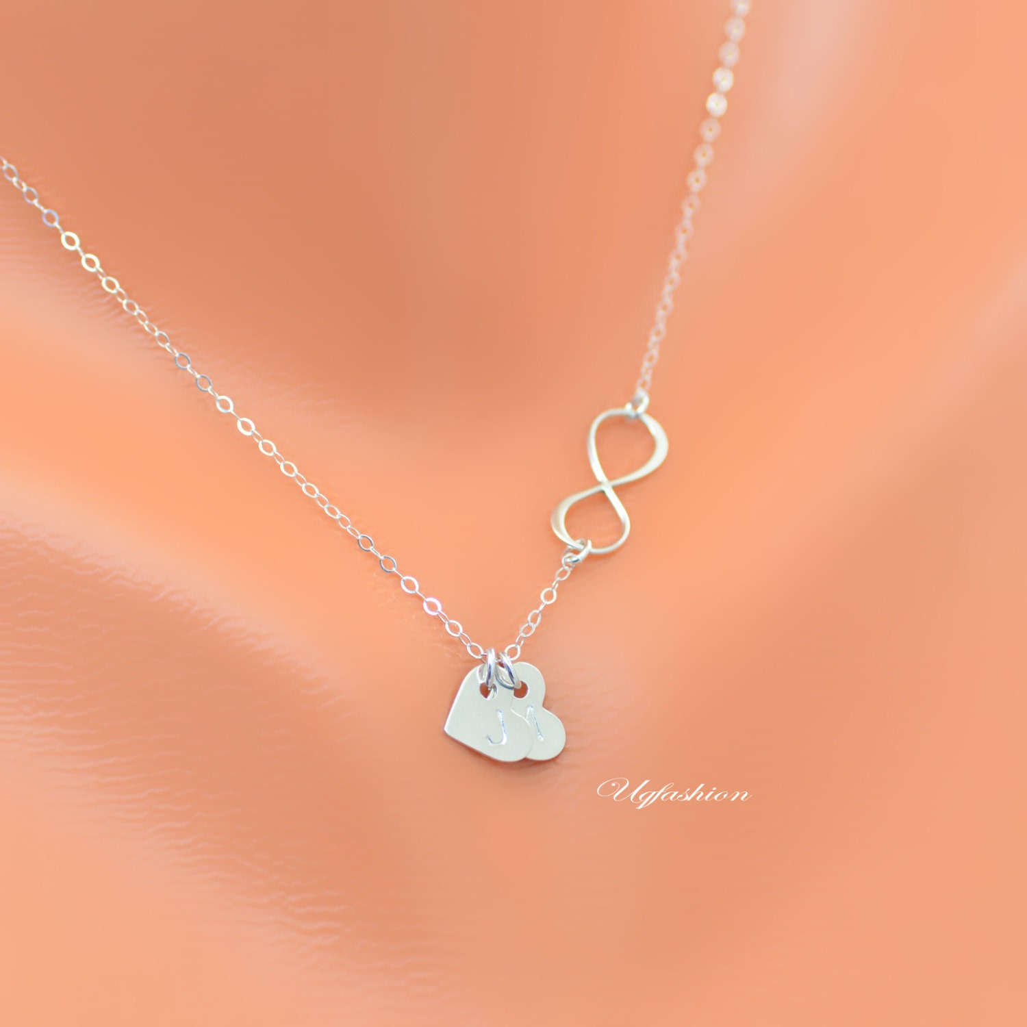 personalizde heart necklace infinity necklace name necklace. Black Bedroom Furniture Sets. Home Design Ideas