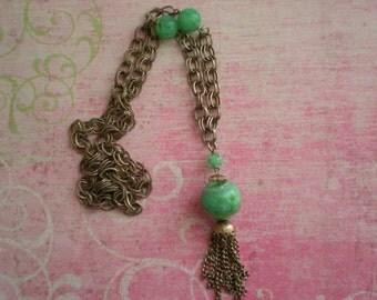 Vintage Beaded Tassel Necklace