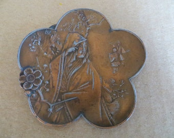 Beautiful Antique Asian Cast Metal Pin Dish