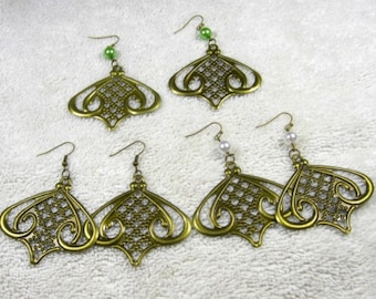 65% discount/Earrings/ bronze/light weight/green/white/ bead/filigree/flower design/ cheap/affordable/. discount/sale