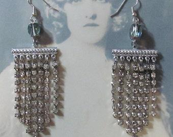 Repurposed Vintage Rhinestone Chandelier Earrings