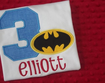 Batman Appliqued Birthday Shirt or Onesie