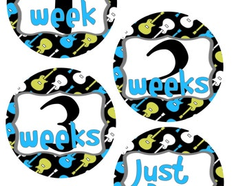 Music Baby Month Stickers, Guitar Baby Shower Gift, Set of 1-12 Months
