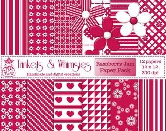 Raspberry Jam Digital Scrapbook Papers - Instant Download