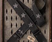 "Highway Star Series 2"" black leather guitar strap - custom length"