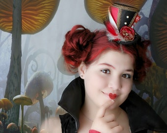 Red Queen of Hearts Mini Top Hat , Tea Party Hat , Mad Hatter Hat , Mini Top Hat Fascinator