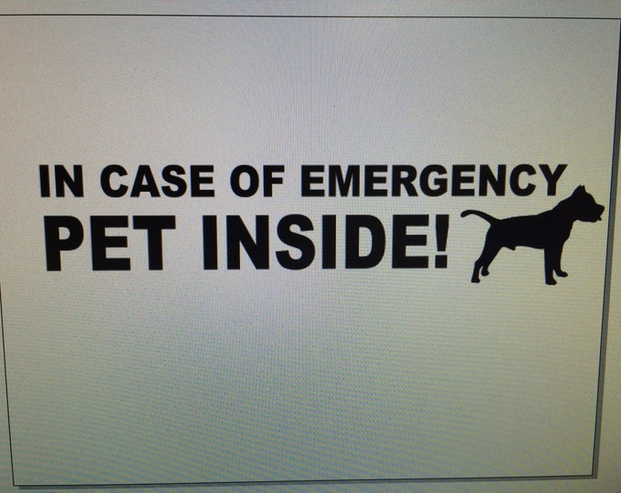 "Custom ""PET Inside"" emergency decal, save my pet sticker, save my pets sticker, in case of emergency save my pet, home pet rescue decal"