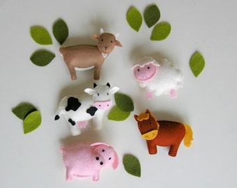 pattern felt ornaments, 5 animals, farm animal mobile diy, crib mobile DIY, wool felt pattern, hog, pig, sheep, horse, cow, goat