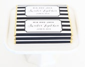 Modern Stripes Personalized Candy Bar Wrapper. Choice of Gold, Silver, Gold Copper, Copper or Black Foil included.