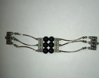 Onyx Beaded Bracelet  with a mix of Silver beads