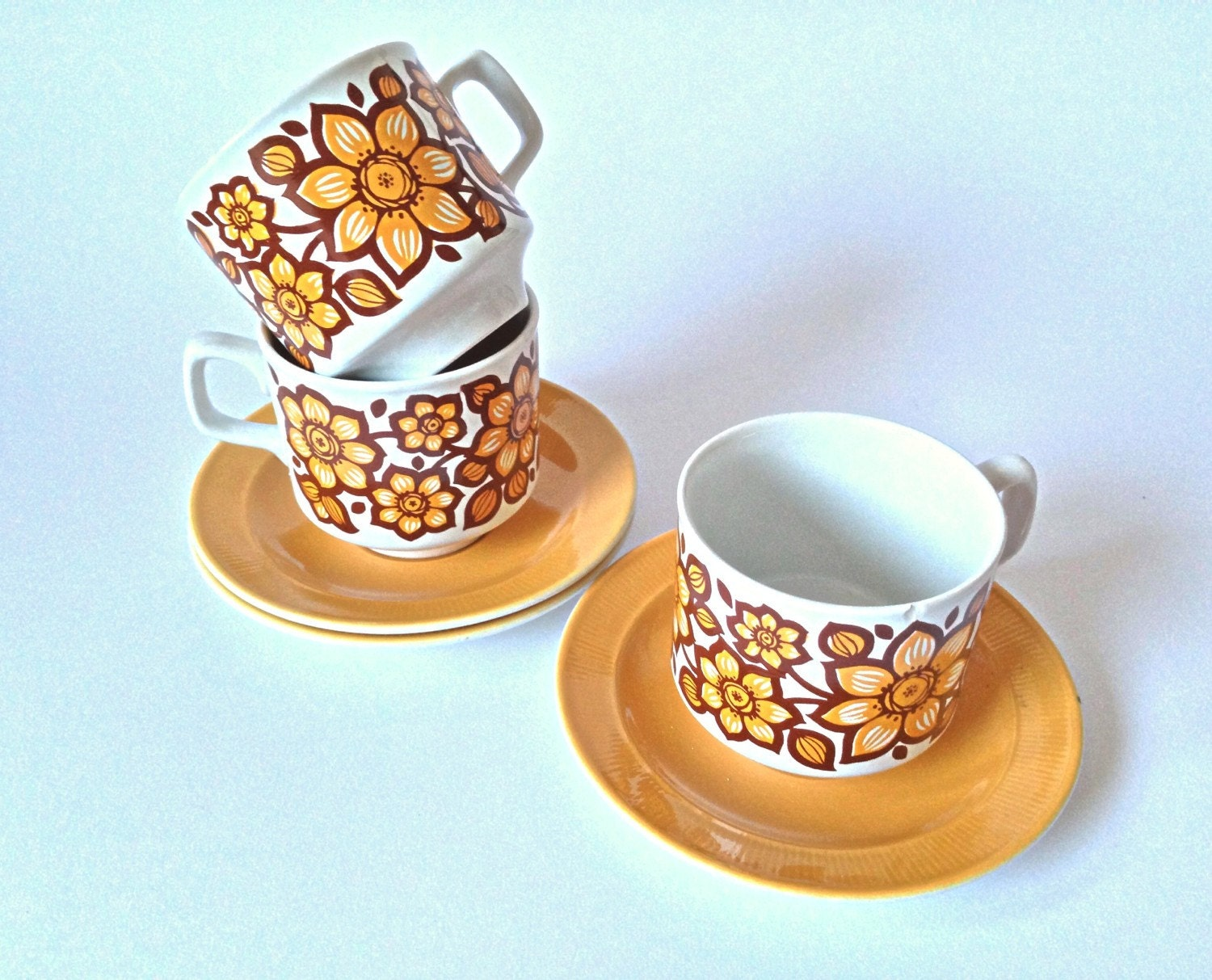Funky Retro Tams England Cups And Saucers Set Of 3 Floral
