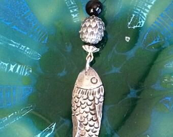 Vintage Sterling fish pendant