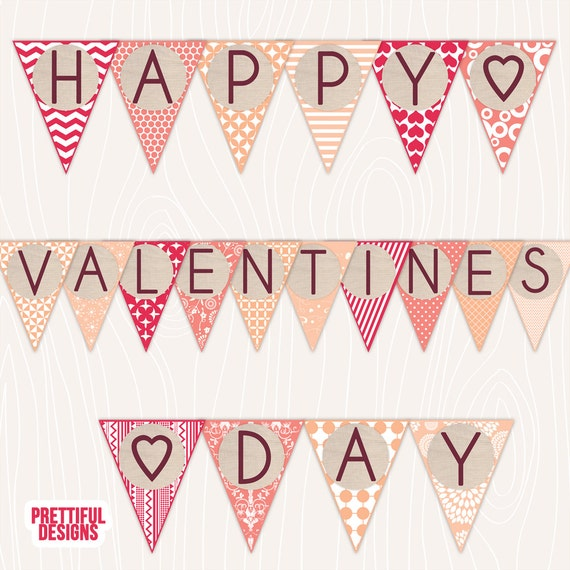 Happy Valentines Day Burlap Banner Printable - Instant ... Happy Valentines Day Banner Printable