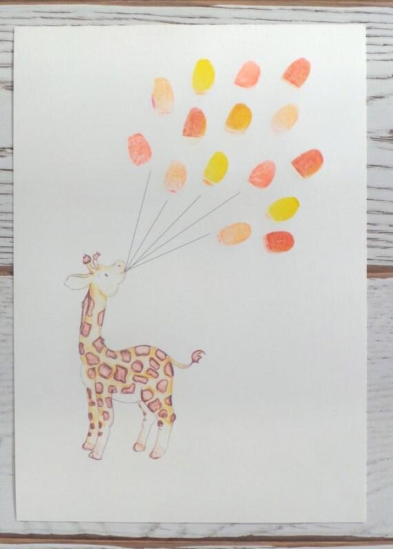 baby shower keepsake art giraffe holding thumb fingerprint balloons