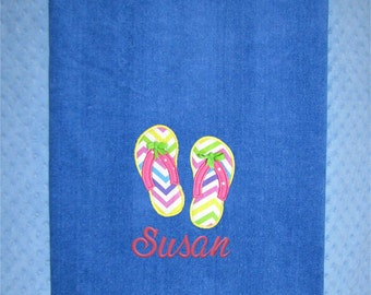 Extra Large Flip Flop Personalized Beach Towel - Flip Flop Monogrammed Beach Towel - Personalized Swim Team Towel - Wedding Beach Towel