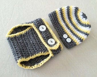 Baby Striped Beanie Hat & Diaper Cover Set - 0 to 3 Months, 3 to 6 Months, 6 to 12 Months - Butterscotch, True Grey, White