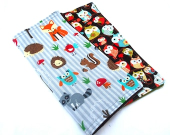 Woodland Animals Double Sided Lunch Cloth Napkins -Set of Two Fox Hedgehog Owl Brown Bento Lunch Cloth Napkins