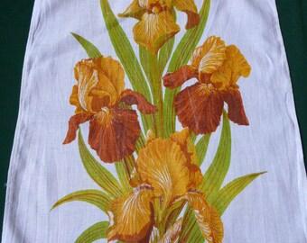 irises Vintage linen Towel dishtowel Tea / Dish towel dishcloth Iris Pattern