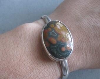 SALE, Sterling Silver Jasper Cuff Bracelet #BLOK28SS