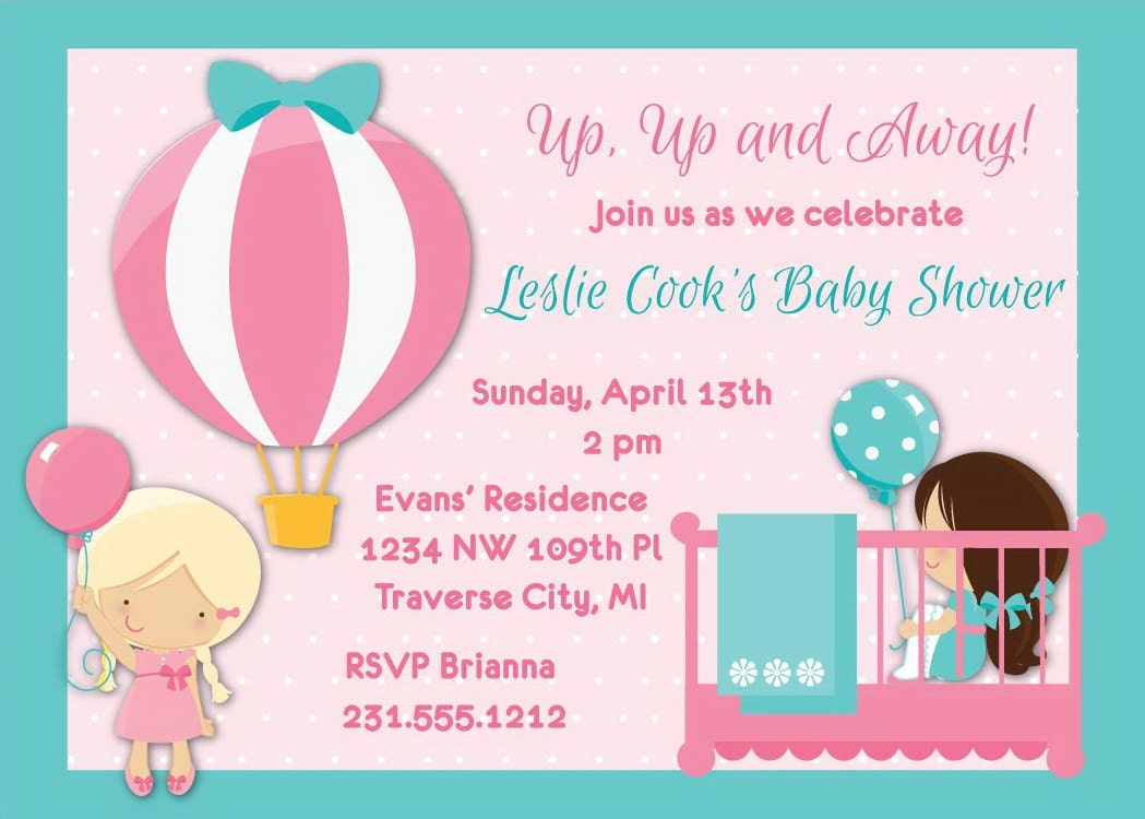 hot air balloon baby shower invitation choose by announceitfavors