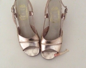 Vintage Gold Leather Platform Shoes