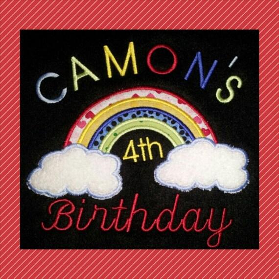 Kids custom rainbow tshirt - embroidered rainbow shirt - rainbow birthday tshirt - custom personalized birthday shirt