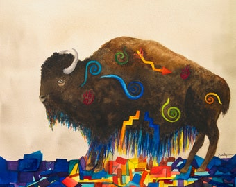 Giclee Archival Print Of Southwest Desert Buffalo Native American Watercolor Painting 5x7 Home Childs room Decor Brown Blue Teal Orange