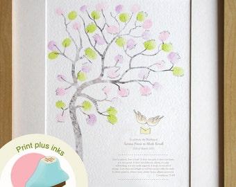 fingerprint Wedding guest book guestbook, wedding idea, wall decor, fingerprint tree, room decor, custom details, A4 PRINT PLUS 2 INKS
