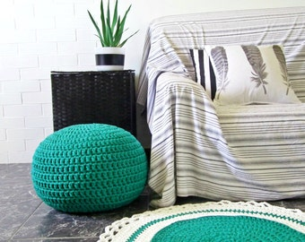 Teal Jade Round Pouf-Ottoman-Pouf Ottoman-Foot Stool-Crochet Floor Cushion-Nursery Decor-Kids Furniture-Knit Pouf-Bean Bag-Floor Pillow