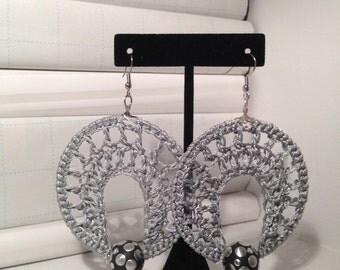 Grey crochet earrings
