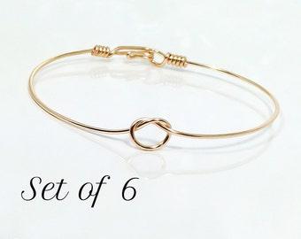 Set of 6 Tie the knot bracelets, bangle bracelet, wire knot bracelet, knotted bangle bracelet, gold knot bangle bracelet, dainty knot