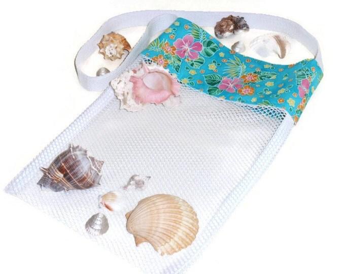 Sea Shell Bag, Mesh Bag, Shell Collecting Bag, Aqua Beach Bag, Sand Beach Bag, Shell Tote, Tropical Seashell Bag, Gift For Girls or Women