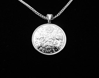 UNITED KINGDOM - Six Pence - Necklace, Man Drop, Money Clip, or Key Ring.  For Lovers of the UK, the Queen, & Antiques. Maybe You!!