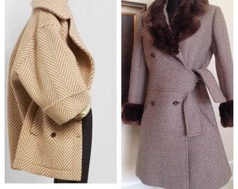 Vintage 70's Herringbone Wool Tweed Coat / Faux Fur Collar & Cuffs / Double Breasted Peacoat Russian Style.