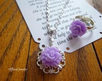 Flower Girl Necklace & Ring Set, Childrens Necklace and Ring, Flower Girl Gift, Flower Girl Gifts, Childs Necklace, Flower Girl Jewelry