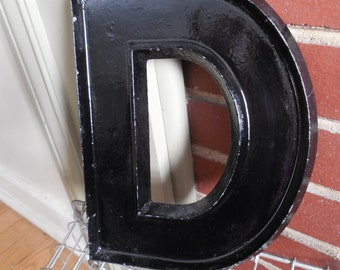 "Large Industrial 10"" Metal Theater Marquee Letter D - Vintage Aluminum Adler Sign"