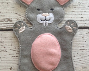 Bunny hand puppet, child size