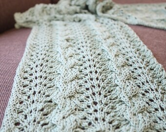 Cabled Chevron Scarf knitting pdf pattern INSTANT DOWNLOAD