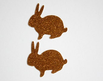 50 Brown Glitter Bunny Confetti for Bunny Birthday Party, Baby Shower, Easter, Die Cuts, Bunnies, Spring Decoration, Glitter Brown Bunny